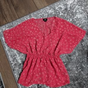 Red, cinched waist blouse